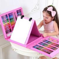 Набор юного художника с мольбертом для творчества 208 предметов в кейсе (розовый)