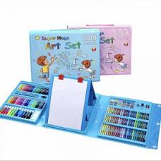 Набор юного художника с мольбертом для творчества 208 предметов в кейсе (голубой)