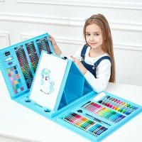 Набор юного художника с мольбертом для творчества 176 предметов в кейсе (голубой)