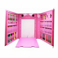 Набор юного художника с мольбертом для творчества 176 предметов в кейсе (розовый)